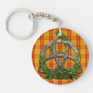 Celtic Trinity Knot And Clan MacMillan Tartan Double-Sided Round Acrylic Keychain