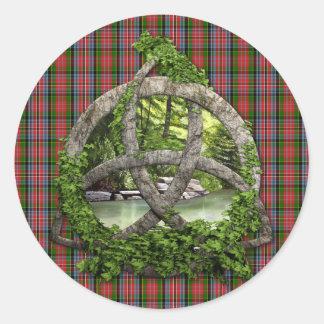 Celtic Trinity Knot And Clan MacPherson Tartan Round Sticker