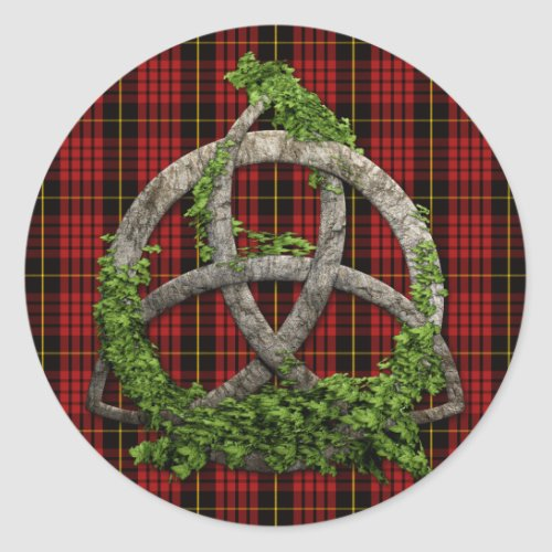 Celtic Trinity Knot And Clan MacQueen Tartan
