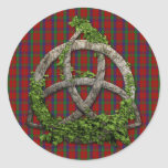 Celtic Trinity Knot And Clan Robertson Tartan Round Stickers