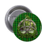 Celtic Trinity Knot And Clan Ross Tartan 2 Inch Round Button
