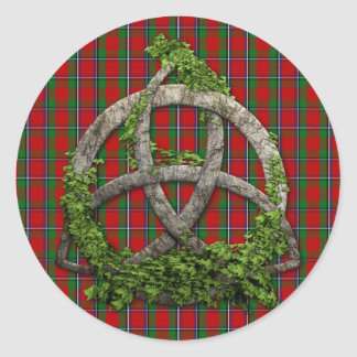 Celtic Trinity Knot And Clan Sinclair Tartan Classic Round Sticker