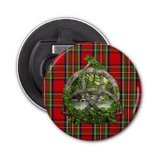Celtic Trinity Knot And Clan Stewart Tartan Bottle Opener