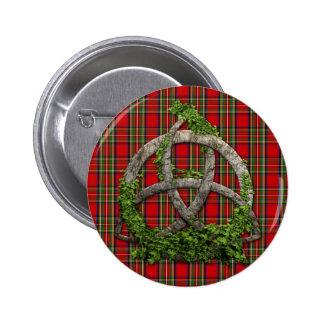 Celtic Trinity Knot And Clan Stewart Tartan Button