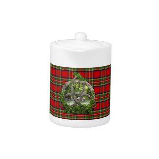 Celtic Trinity Knot And Clan Stewart Tartan Teapot