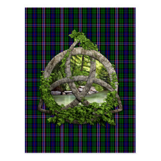 Celtic Trinity Knot And Scottish National Tartan Postcard
