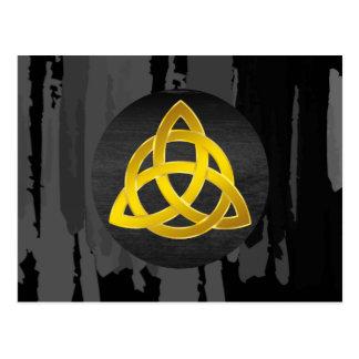 Celtic Trinity Knot Black  Watercolor Gold Postcard