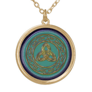 Celtic Trinity Knot in Antique Brass on Green Round Pendant Necklace