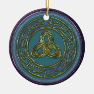 Celtic Trinity Knot Ornament in Blue, Green Purple