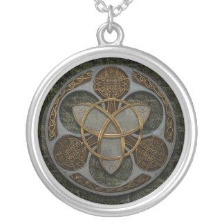Celtic Trinity Shield Round Pendant Necklace