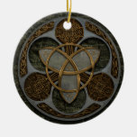 Celtic Trinity Shield Double-Sided Ceramic Round Christmas Ornament