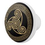 Celtic Triple Spiral Ceramic Knob
