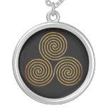 celtic triple spiral - OneLine antique gold, black Personalized Necklace