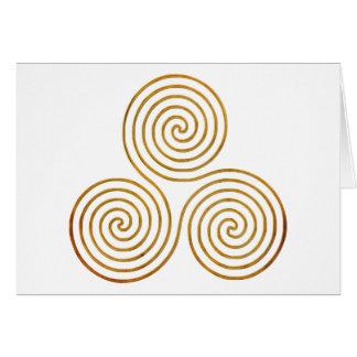 celtic triple spiral - OneLine antique gold Card