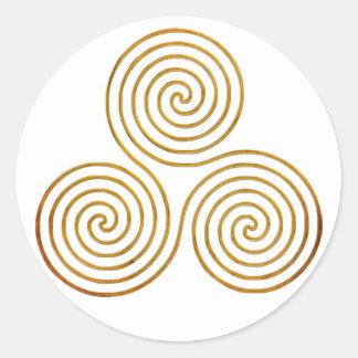 celtic triple spiral - OneLine antique gold Classic Round Sticker