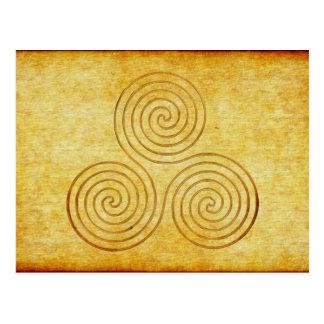 celtic triple spiral - OneLine antique gold Postcard
