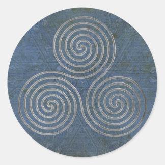 celtic triple spiral - OneLine antique silver Classic Round Sticker
