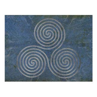 celtic triple spiral - OneLine antique silver Postcard
