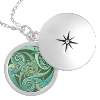 Celtic Triple Spiral Symbol Silver Plated Necklace