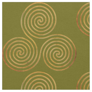 Celtic Triple Spirale One Line Gold Fabric
