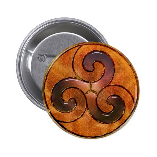 celtic triskele on gold 2 inch round button