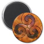 celtic triskele on gold 2 inch round magnet
