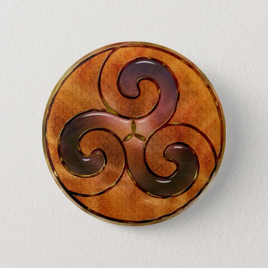 celtic triskele on gold pinback button