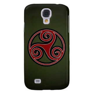 Celtic Triskelion o Triskele (rojo, negro, blanco) Carcasa Para Galaxy S4