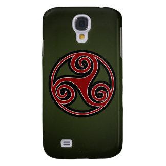 Celtic Triskelion o Triskele (rojo, negro, blanco) Funda Para Galaxy S4