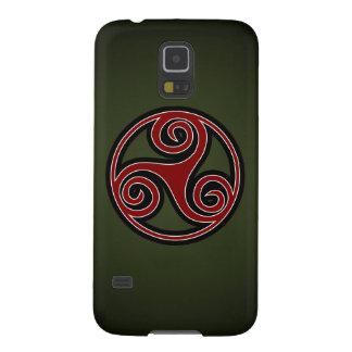Celtic Triskelion o Triskele (rojo, negro, blanco) Fundas Para Galaxy S5
