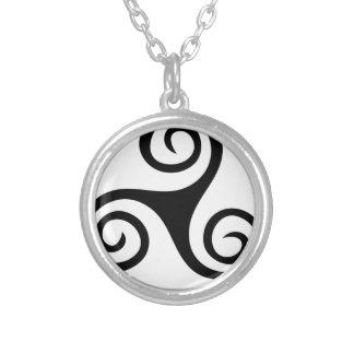 Celtic Triskell Black Design Silver Plated Necklace
