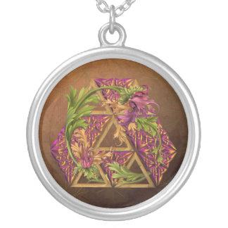 Celtic Triskels Ornamental Silver Plated Necklace
