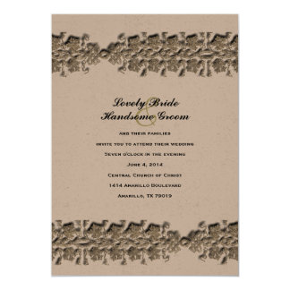 Celtic Twining Vines Gold Brown Wedding Invitation