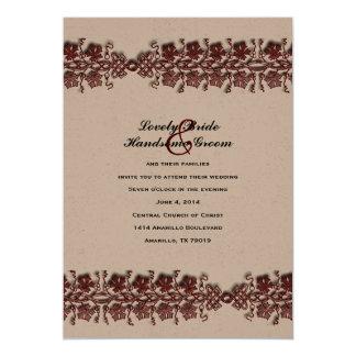 Celtic Twining Vines Red Brown Wedding Invitation