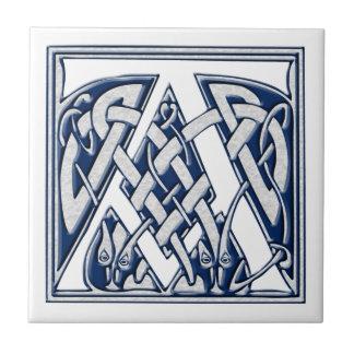 Celtic un monograma azulejo cuadrado pequeño
