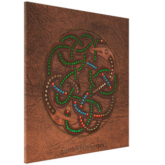 Celtic Viking Serpent Shield Irish Art Design Canvas Prints
