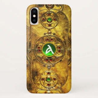 CELTIC WARRIOR SHIELD EMERALD RUBY GEM  MONOGRAM iPhone X CASE