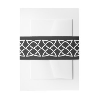 Celtic Weave Hearts in Black Invitation Belly Band
