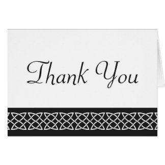 Celtic Weave Hearts in Black Thank You Card