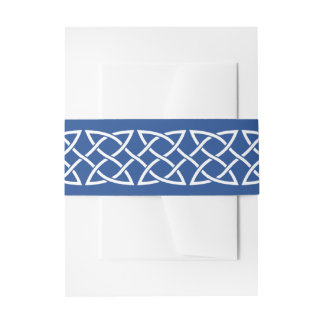 Celtic Weave Hearts in Blue Invitation Belly Band