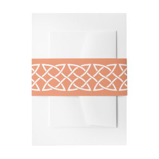 Celtic Weave Hearts in Coral Invitation Belly Band