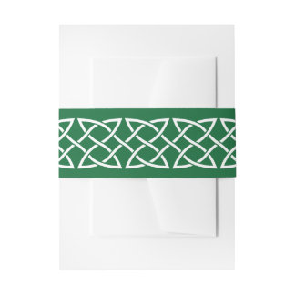 Celtic Weave Hearts in Green Invitation Belly Band