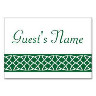 Celtic Weave Hearts in Green Table Card