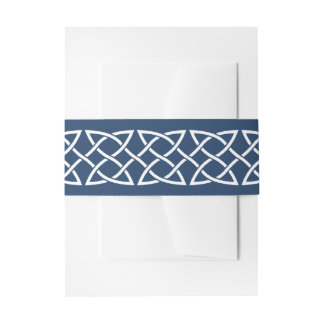 Celtic Weave Hearts in Navy Invitation Belly Band
