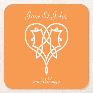 Celtic Weave Hearts in Orange Paper Coaster