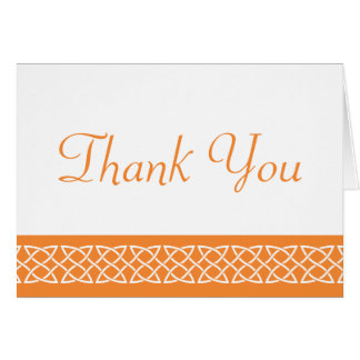 Celtic Weave Hearts in Orange Thank You Card