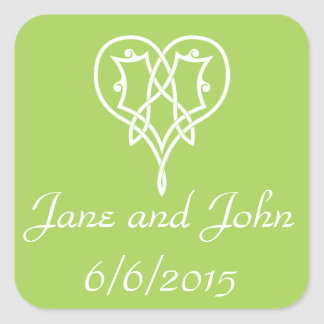 Celtic Weave Hearts in Peridot Sticker
