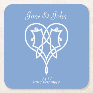 Celtic Weave Hearts in Periwinkle Paper Coaster