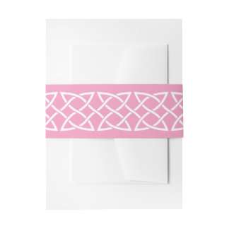 Celtic Weave Hearts in Petal Pink Invite Band Invitation Belly Band