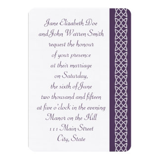 Celtic Weave Hearts in Purple Wedding Invitation